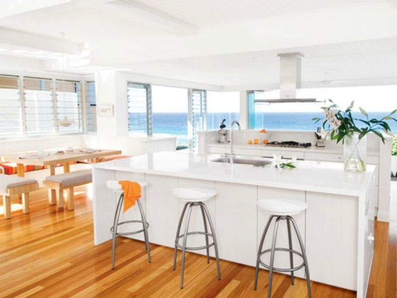 Modern Coastal Kitchen With An Ocean View Beach House Kitchens Beach House Dining Room Home Kitchens