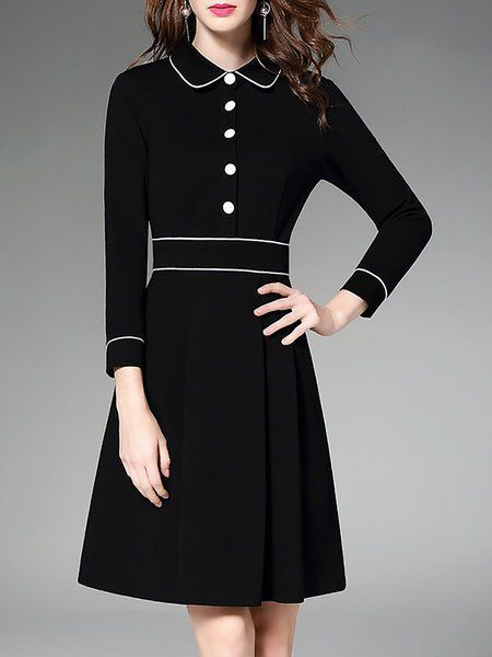Shop Midi Dresses - Black Shirt Collar Buttoned Midi Dress online. Discover uniq...,  #black #Buttoned #Collar #Discover #dress #Dresses #Midi #mididressformal #Online #shirt #Shop #uniq