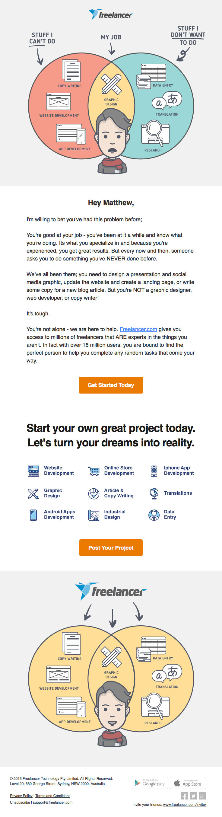freelancercom sent this email with the subject line: Do your