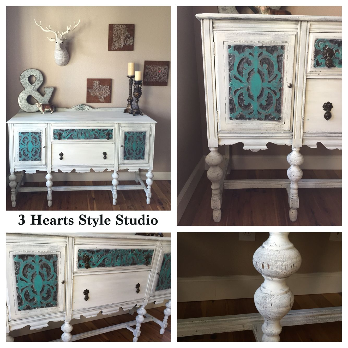 Teal and white antique buffet. Custom painted furniture Denver and Colorado  Springs. Painted furniture - Teal And White Antique Buffet. Custom Painted Furniture Denver And