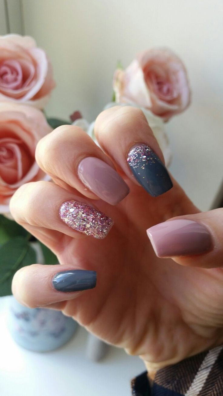 My favourite nails so far! Pink and grey with rose gold glitter ...