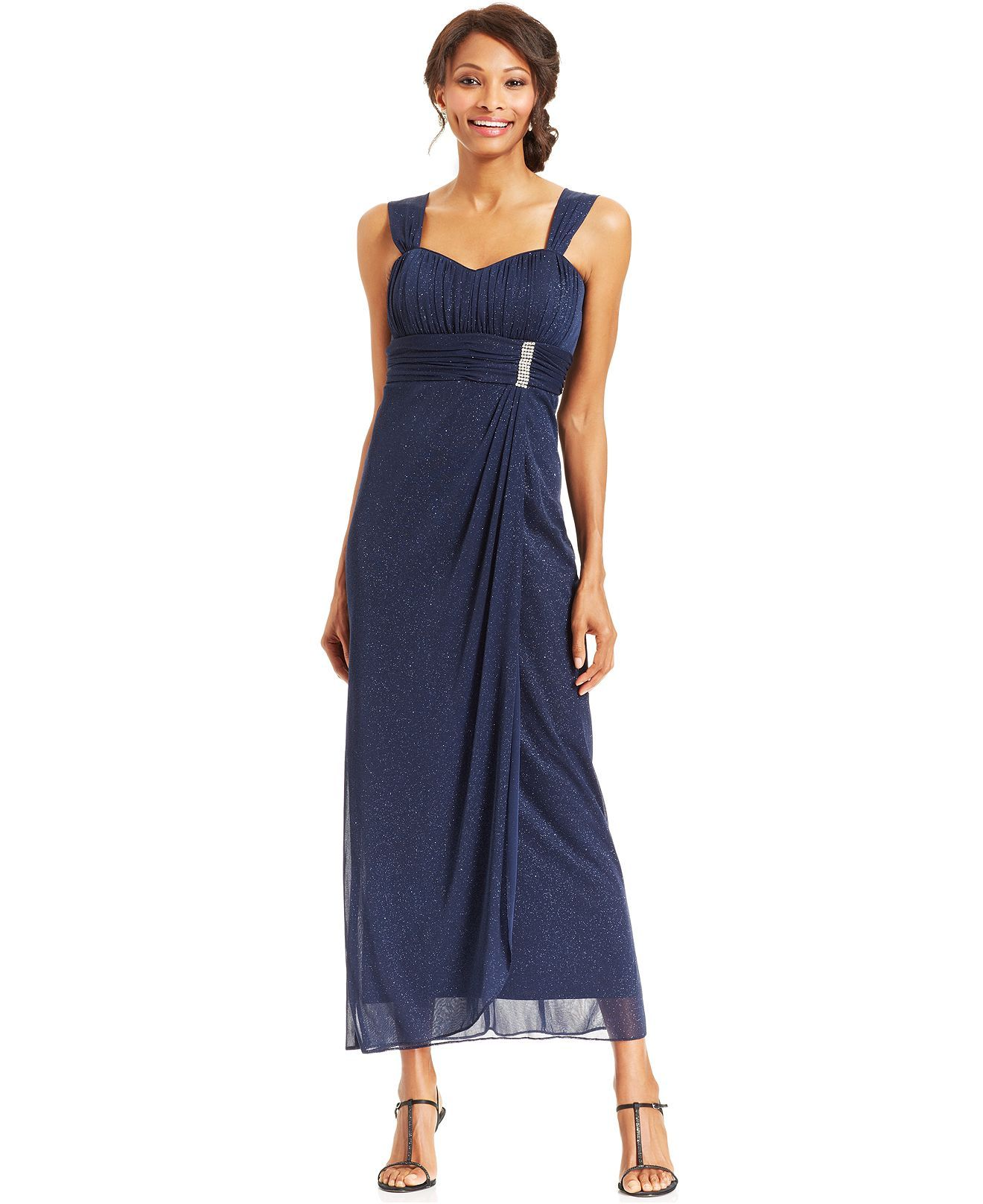 R&M Richards Sleeveless Glitter Faux-Wrap Gown and Jacket - Mother ...