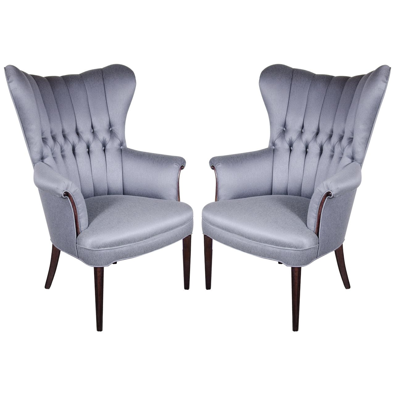 Sophisticated Pair of 1940's Hollywood Tufted & Channel Back Occasional  Chairs | From a unique collection of antique and modern wingback chairs at  ... - Sophisticated Pair Of 1940's Hollywood Tufted And Channel Back