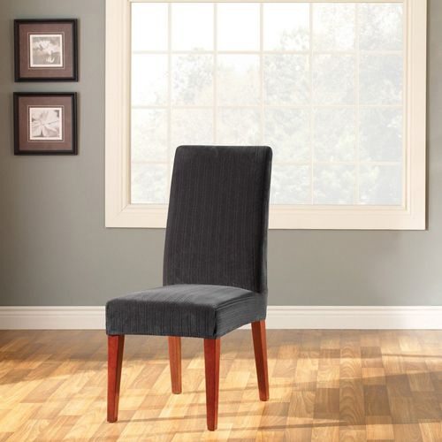 Black Stretch Pinstripe Short Dining Room Chair Cover
