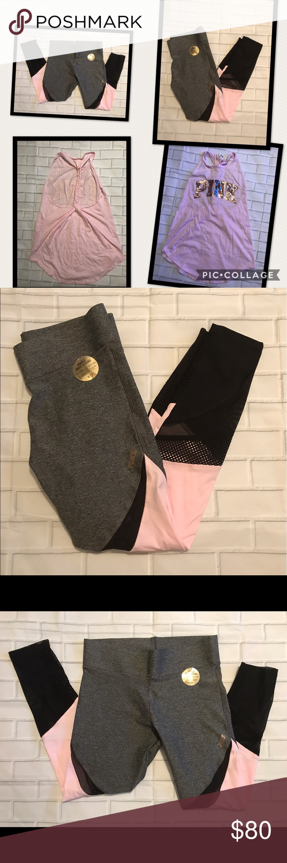 NWT VS/PINK BUNDLE DEAL SIZE S NWT VS/PINK BUNDLE DEAL  SIZE S 1-Bonded Ankle Leggings  1- Racer-back braided tank Original Price: $100.00 PINK Victoria's Secret Pants Leggings