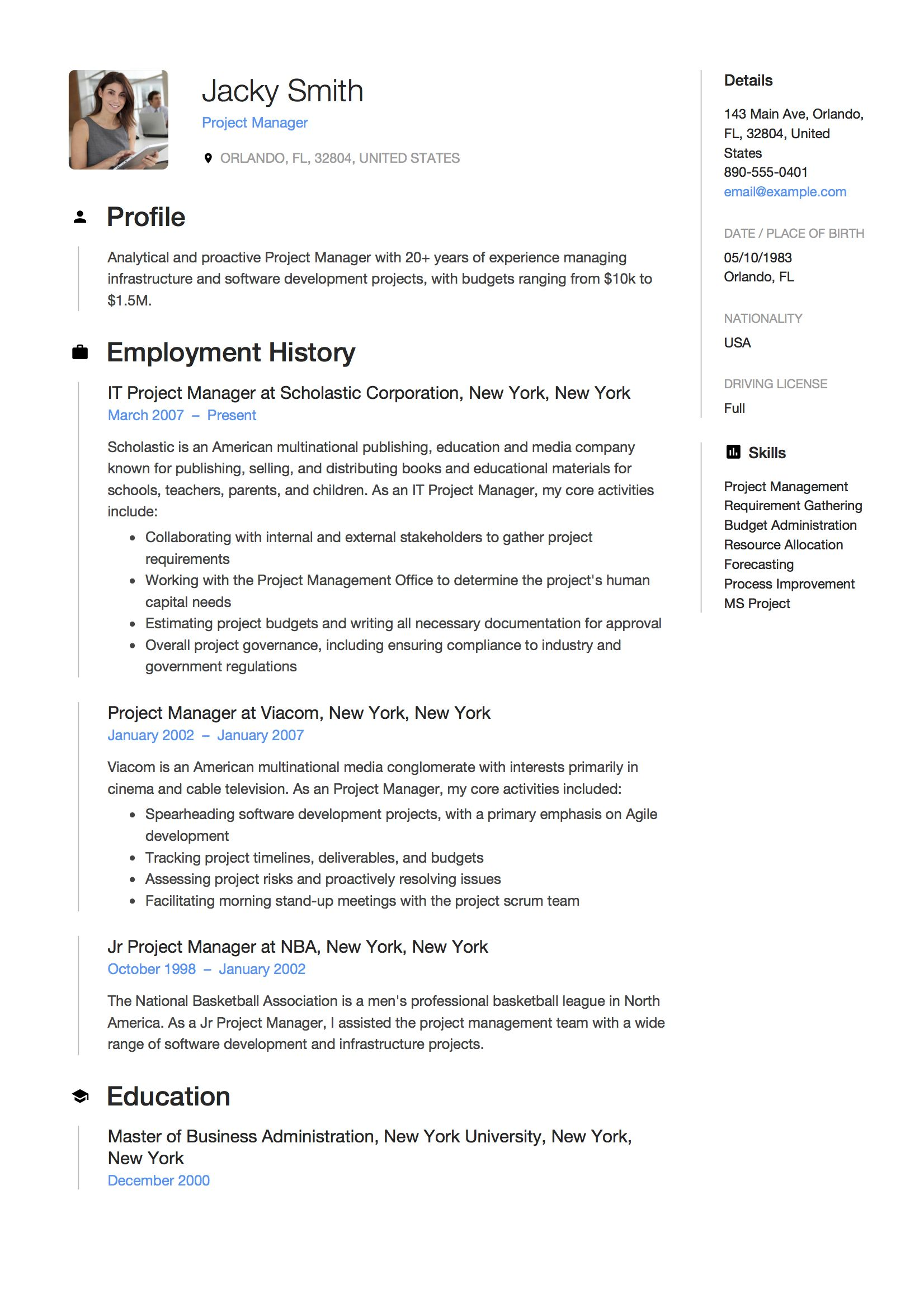 Project Manager Resume Example, Template, Sample, CV