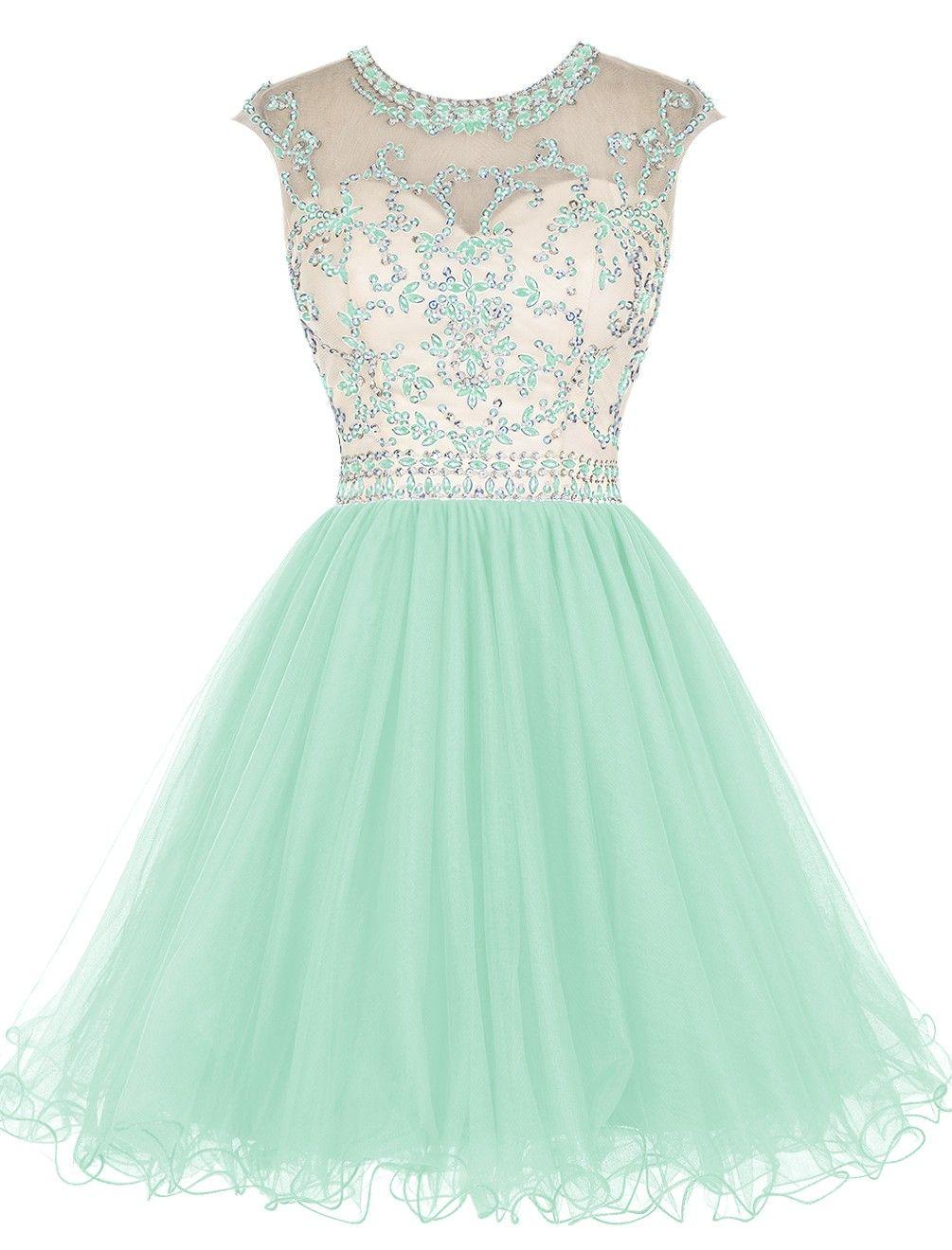 Elegant short royal blue beading homecoming dress scoop neck party