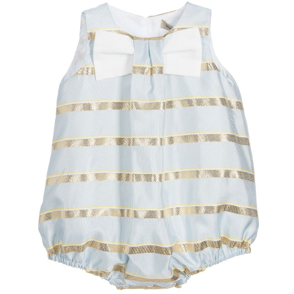 45d4aee42c91 Hucklebones London - Baby Girls Blue   Gold Striped Shortie ...
