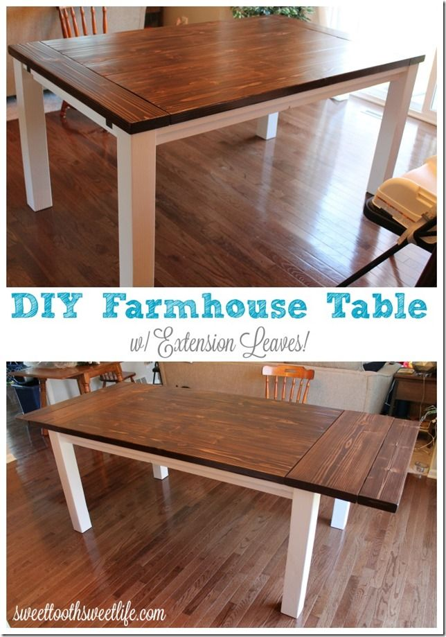 db840f90dc0c3 DIY Farmhouse Table with Extension Leaves (with Plans!) - Sweet Tooth Sweet  Life