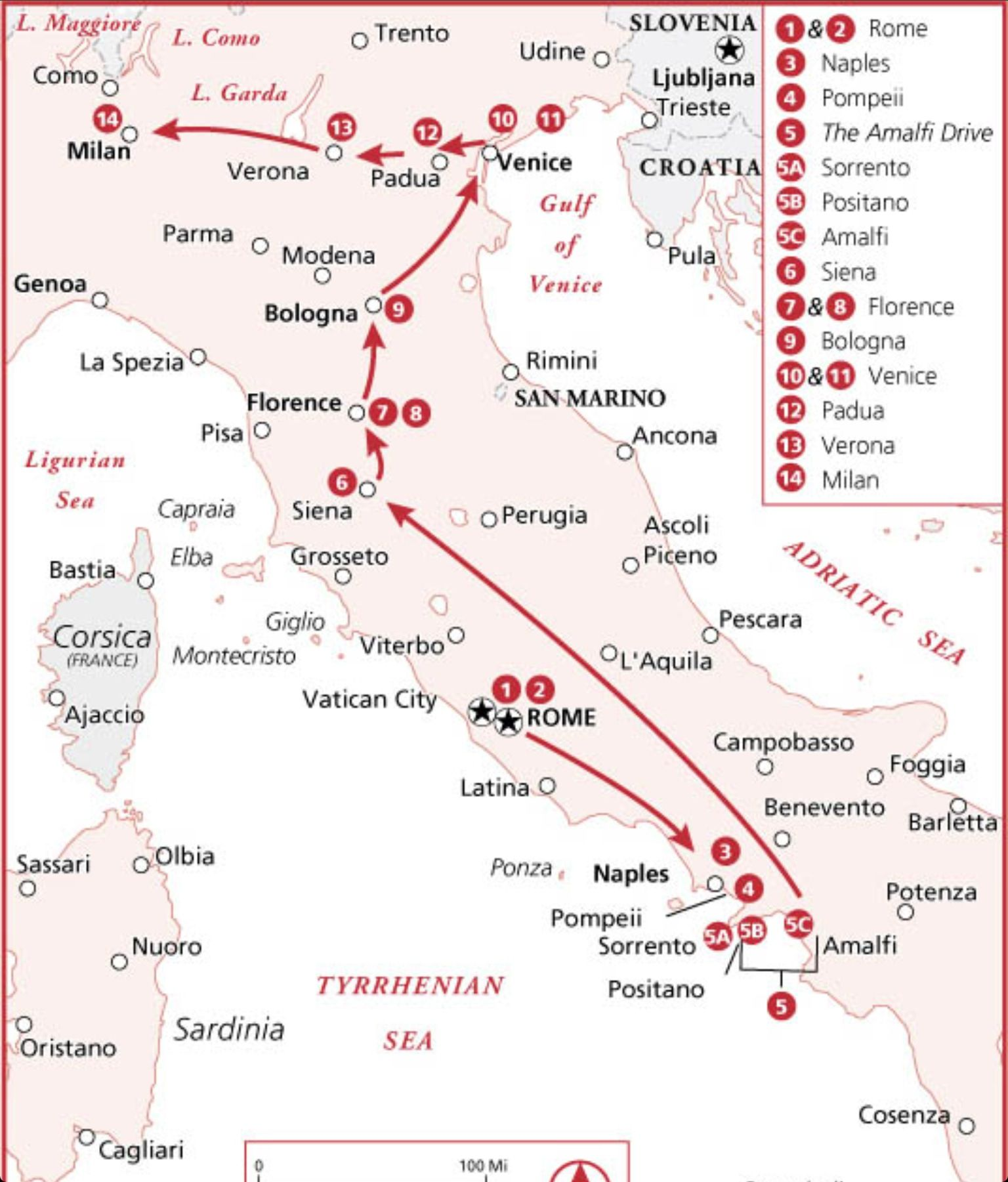Italy in 2 weeks map and sample itinerary Via Frommers httpwww