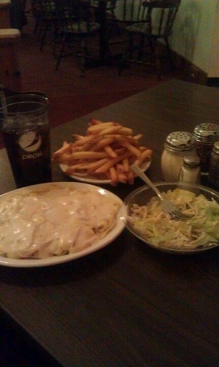 Pepsi, French Fries, Fettucine Alfredo, Salad with House Italian Dressing. I love the food.
