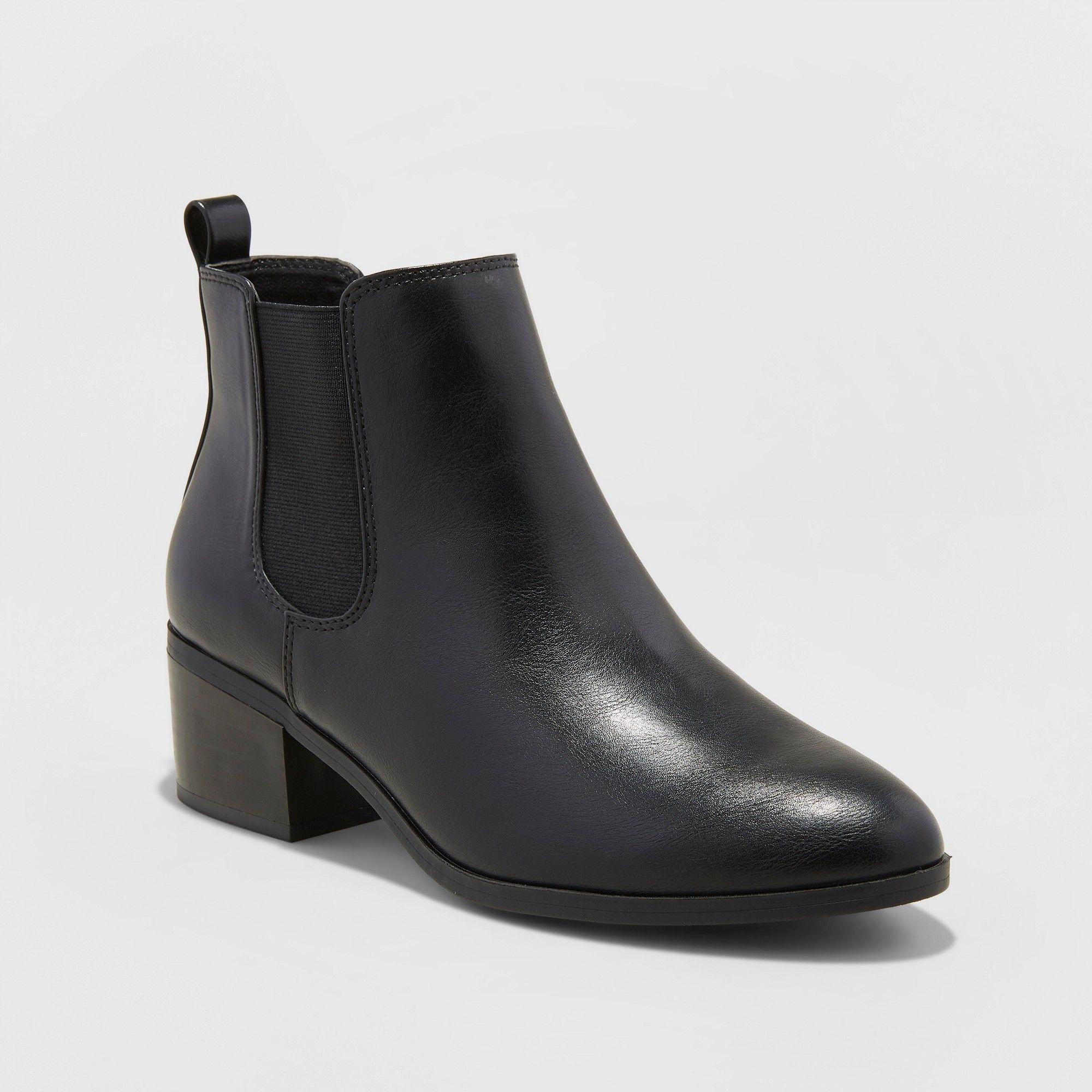 Women s Ellie Wide Width Chelsea Boots - A New Day Black 7.5W, Size  7.5  Wide 423fce2f7e