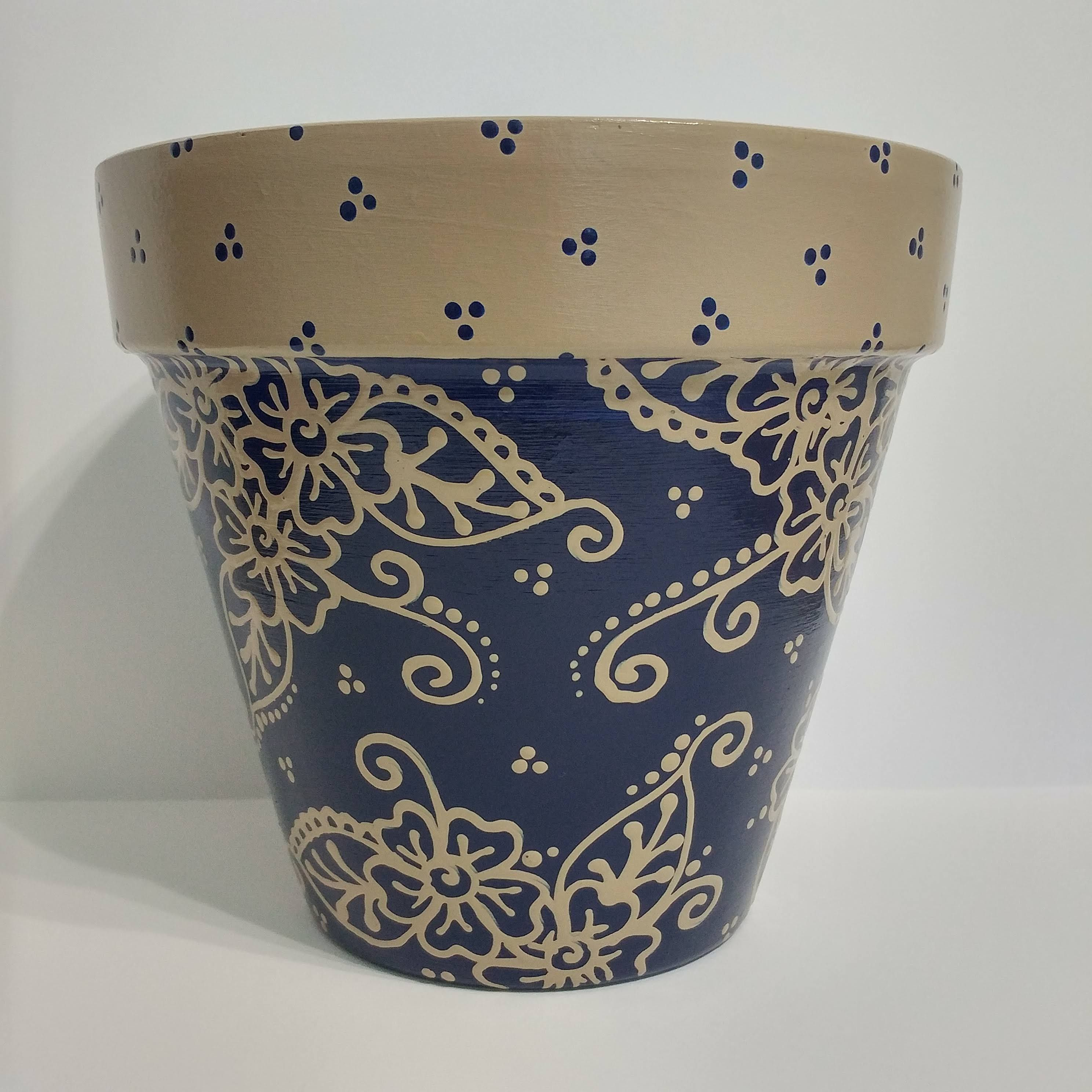 Large 8 Terra Cotta Flower Pot Hand Painted Navy Blue With Free Hand Beige Flowers And Coordinating Dots Terracotta Flower Pots Blue Planter Navy Blue Planter