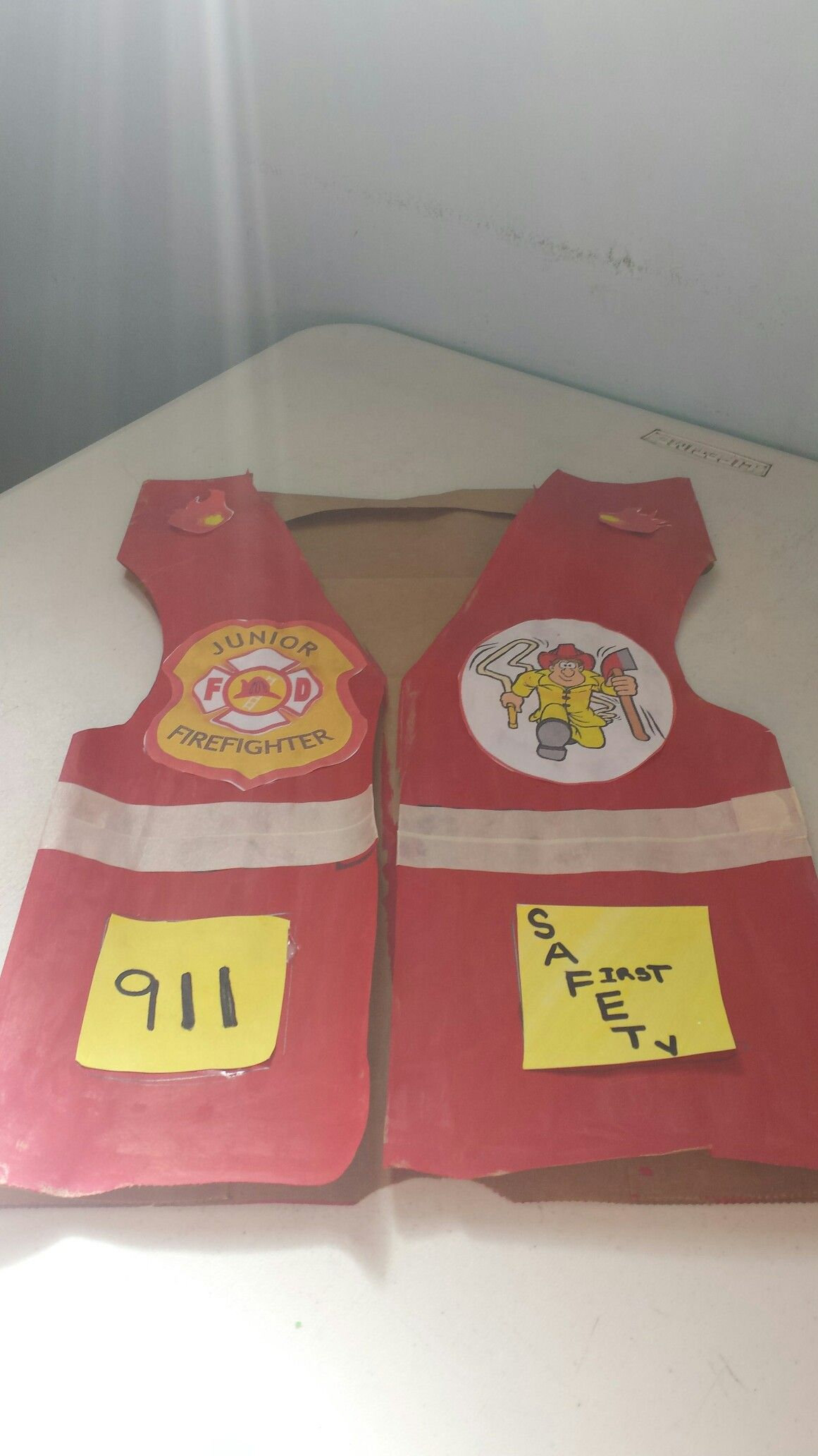 October 2016 Fire Safety Month Paper bag fire Vest How