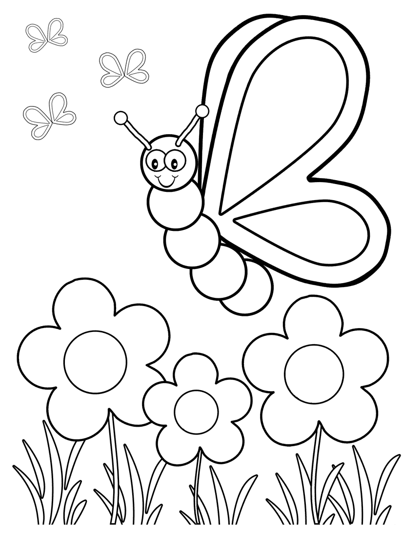 Coloring summer activities - Butterfly Coloring Pages For Your Toddlers