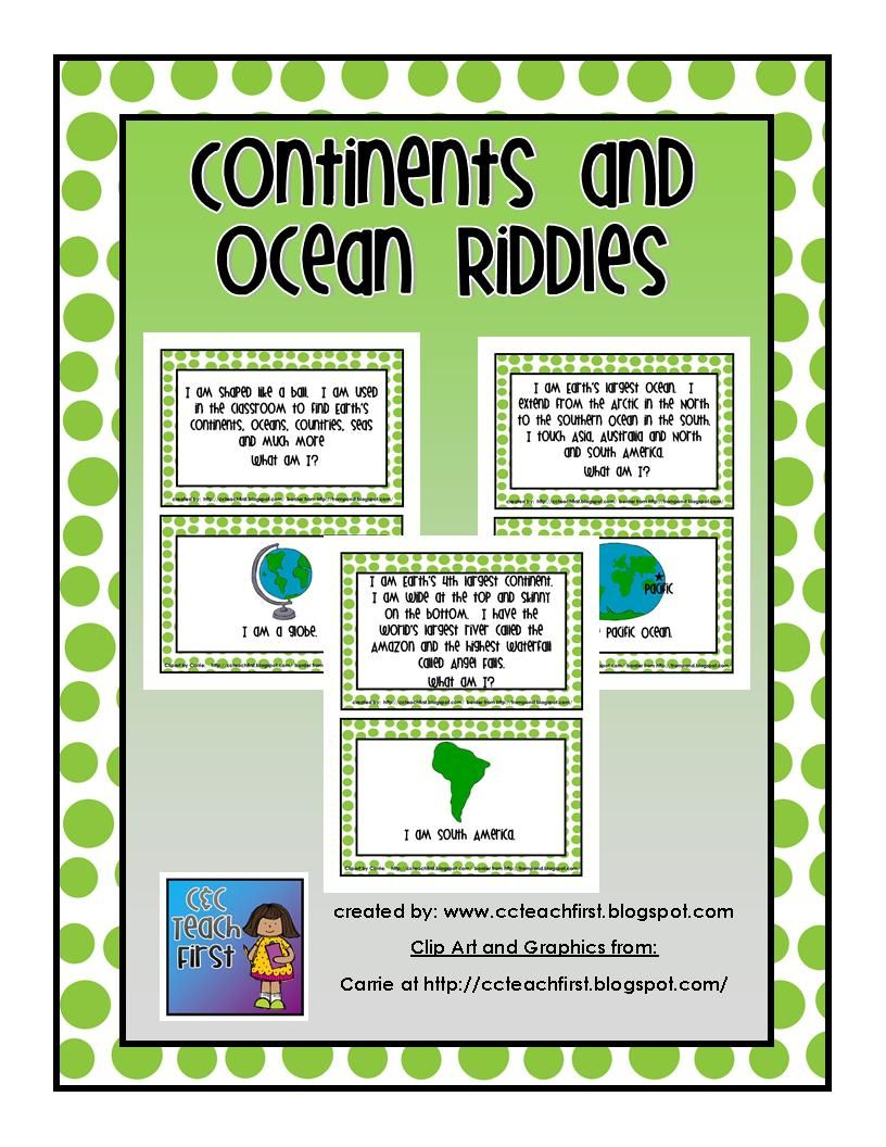 Continent and Ocean Riddles Teaching social studies