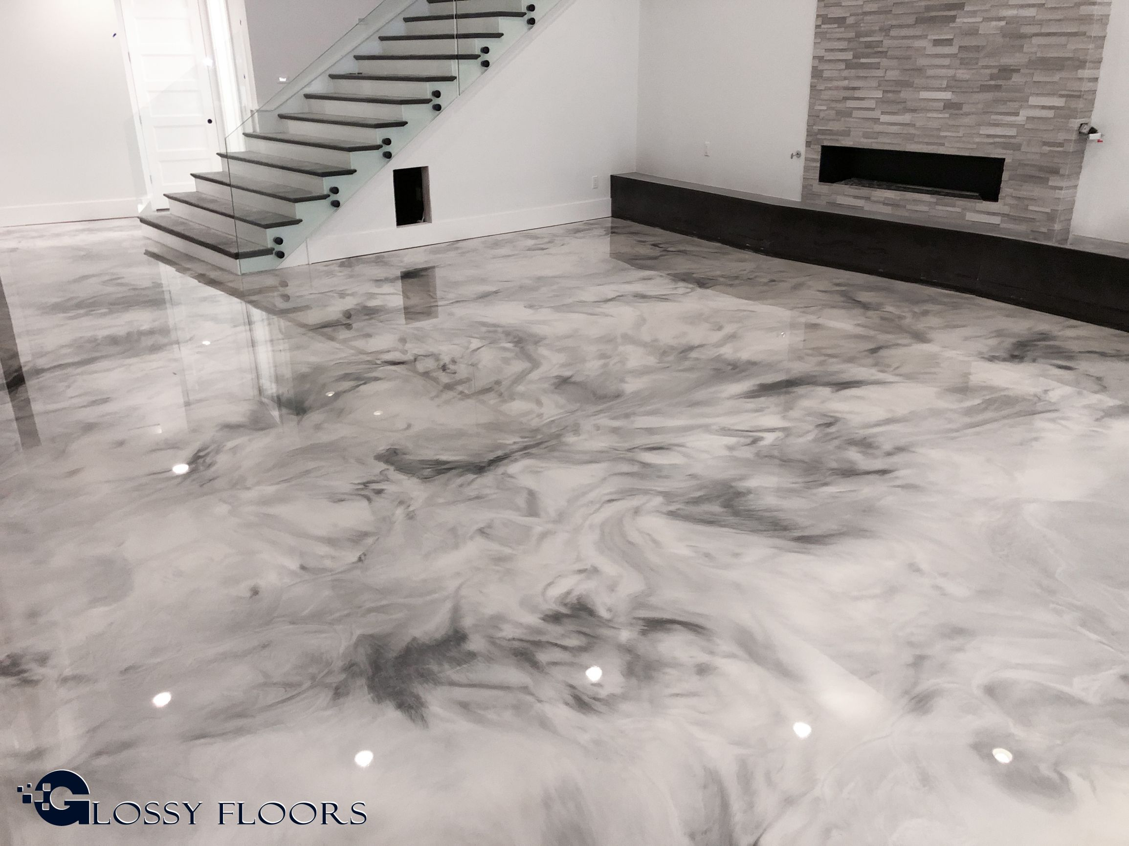 Metallic Marble Epoxy Floors From Glossy Floors Are Truly Unique This Particular Floor Is Unique In Th Epoxy Floor Epoxy Floor Basement Marble Flooring Design
