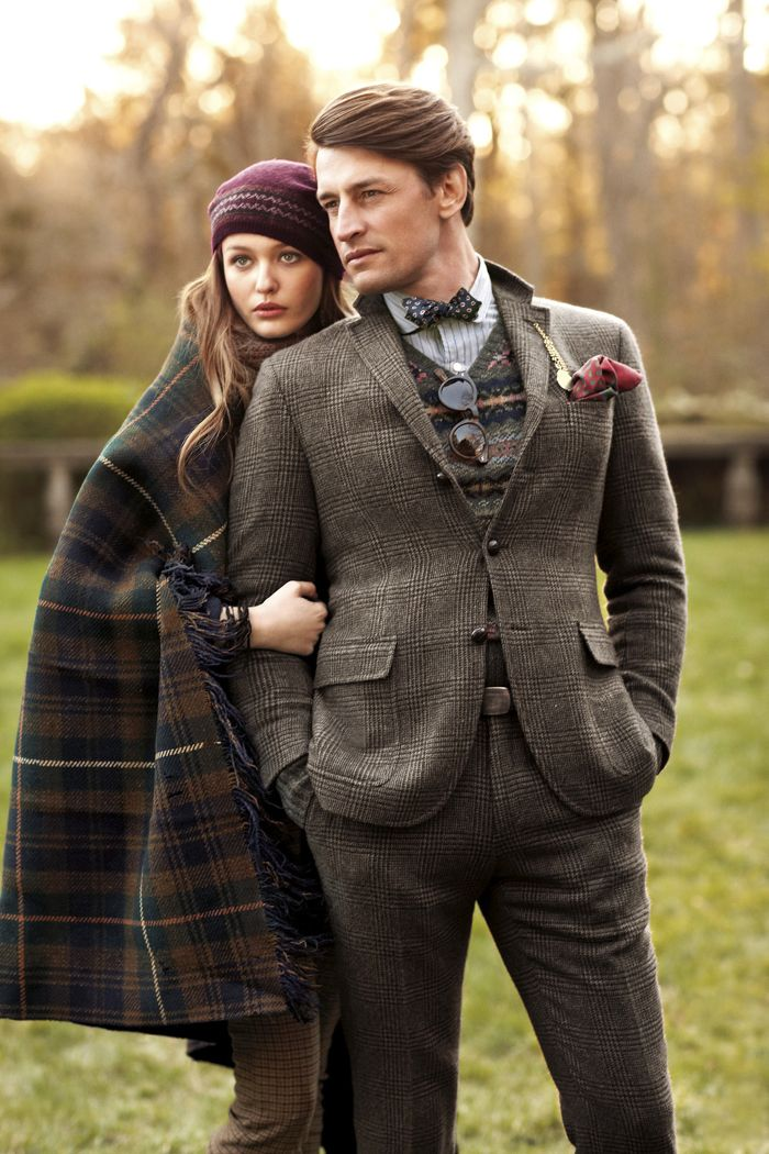Polo Ralph Lauren Fall 2012 - Brown glen plaid double button jacket with pocket flaps, brown and blue Fair Isle v-neck sweater, white blue stripes shirt, blue with white bow tie, brown slacks, maroon pocket square