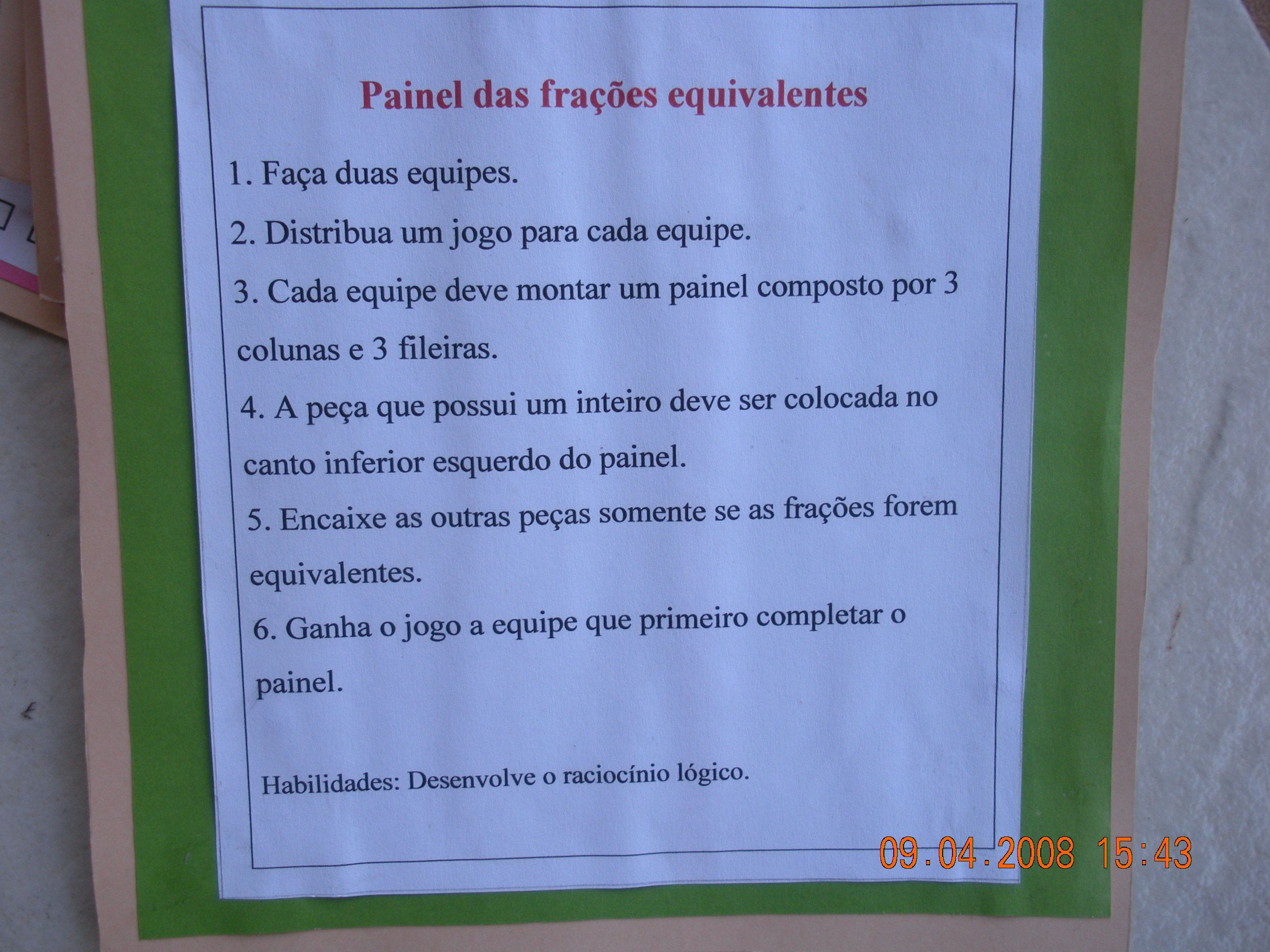 Regras Painel das Frações Equivalentes Frações