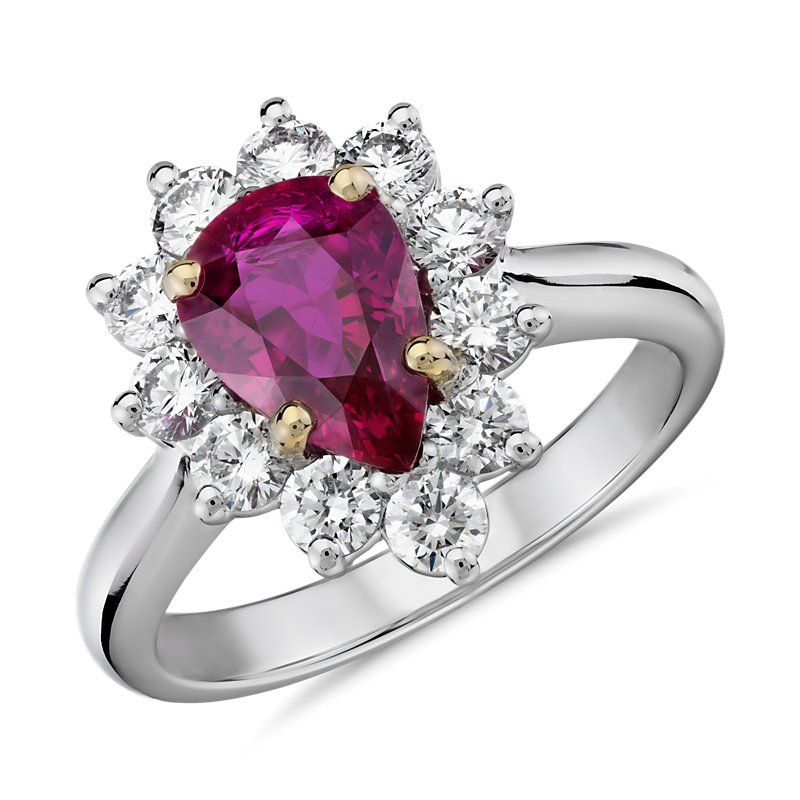 Angara Classic Diamond Framed Pear Shape Ruby Ring in Platinum Q9UR6wd