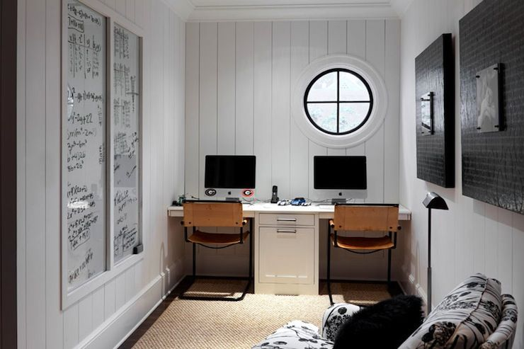 Hammersmith Atlanta Betty Burgess Design White Tongue And Groove Walls Wall To Wall Built In Desk Tongue And Groove Walls Homework Room