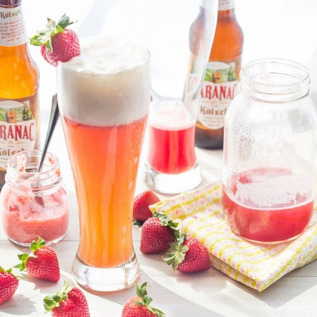 Up your gameday drinking game with this Strawberry Rhubarb Shandy recipe.