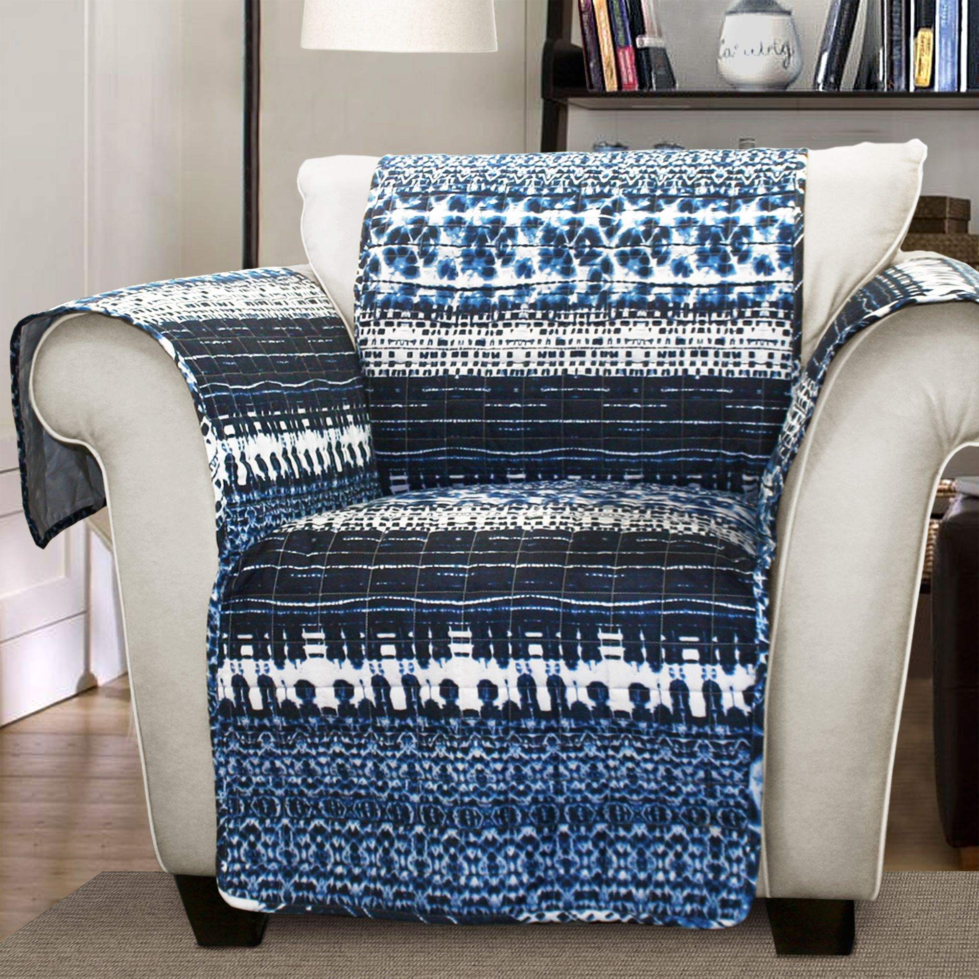 Forever New Lambert Tie Dye Furniture Protectors Navy Armchair, Blue