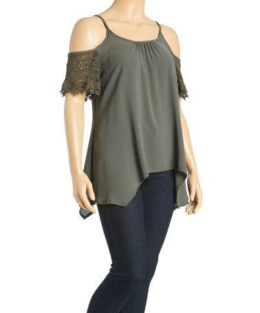 Olive Cold-Shoulder Sidetail Top - Plus