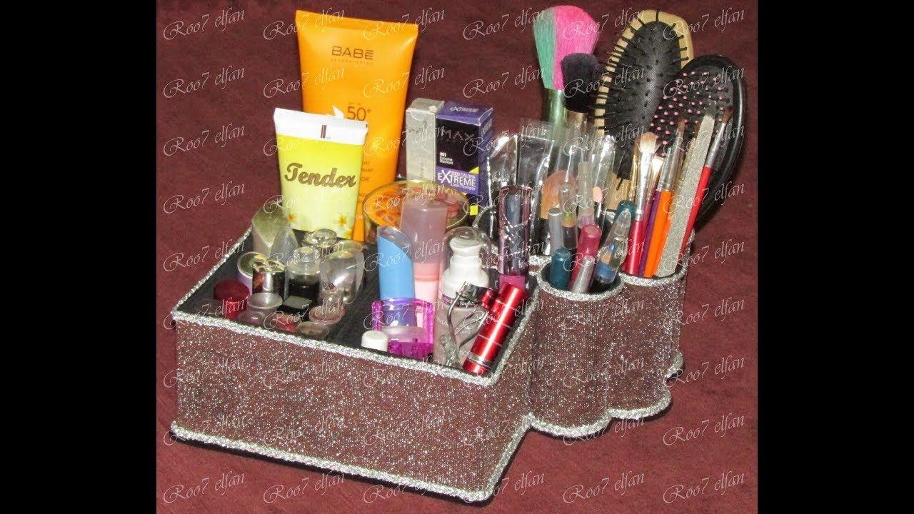 منظم مكياج من مواد مختلفة Makeup Organizer Out Of Different Materials Makeup Organization Organization Makeup