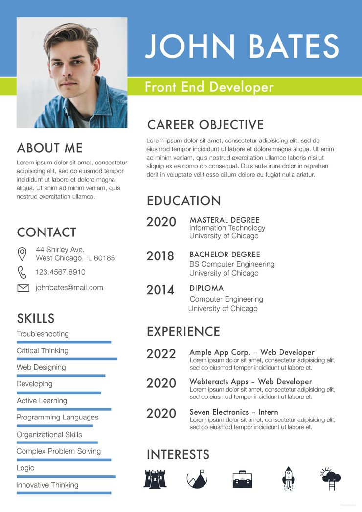 Front End Developer Resume Template Free Psd Word Apple Pages Publisher Template Net Rezyume