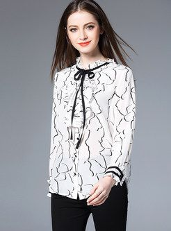 Fashion Print Hit Color Blouse