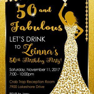 50th Birthday Party Invitation for a Woman - Cocktail Party Formal Gold Glitter Black - DRESS50 #moms50thbirthday