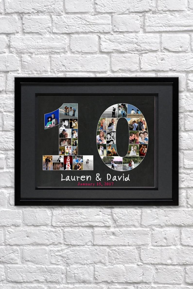 10 Year Anniversary Photo Collage Gift Personalized 10th Etsy 10th Anniversary Gifts 10 Year Anniversary Gift Photo Collage Gift