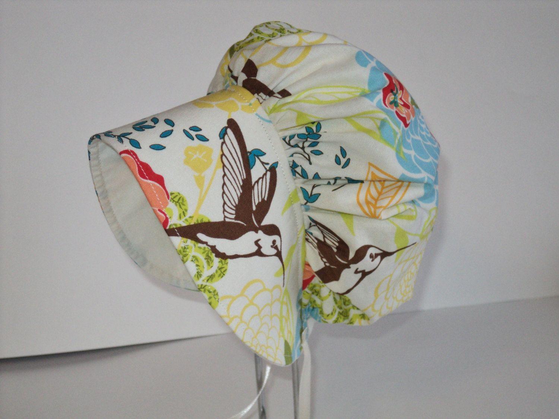 MODERN BABY BONNET, Hummingbird Floral, Made To Order Size 3 MonthsTo 2years. Infant Sun Bonnet, Toddler Bonnet. $16.00, via Etsy. bird floral