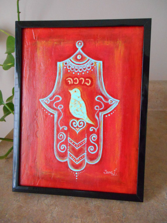 Original Painting Hamsa Hand Acrylic on Canvas Panel Hamsa Spiritual ...