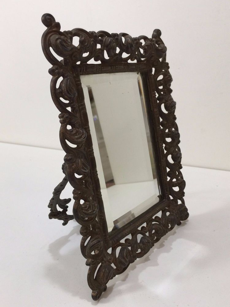 Antique Ornate Victorian Bronze Table Easel Mirror 3 4 X 5