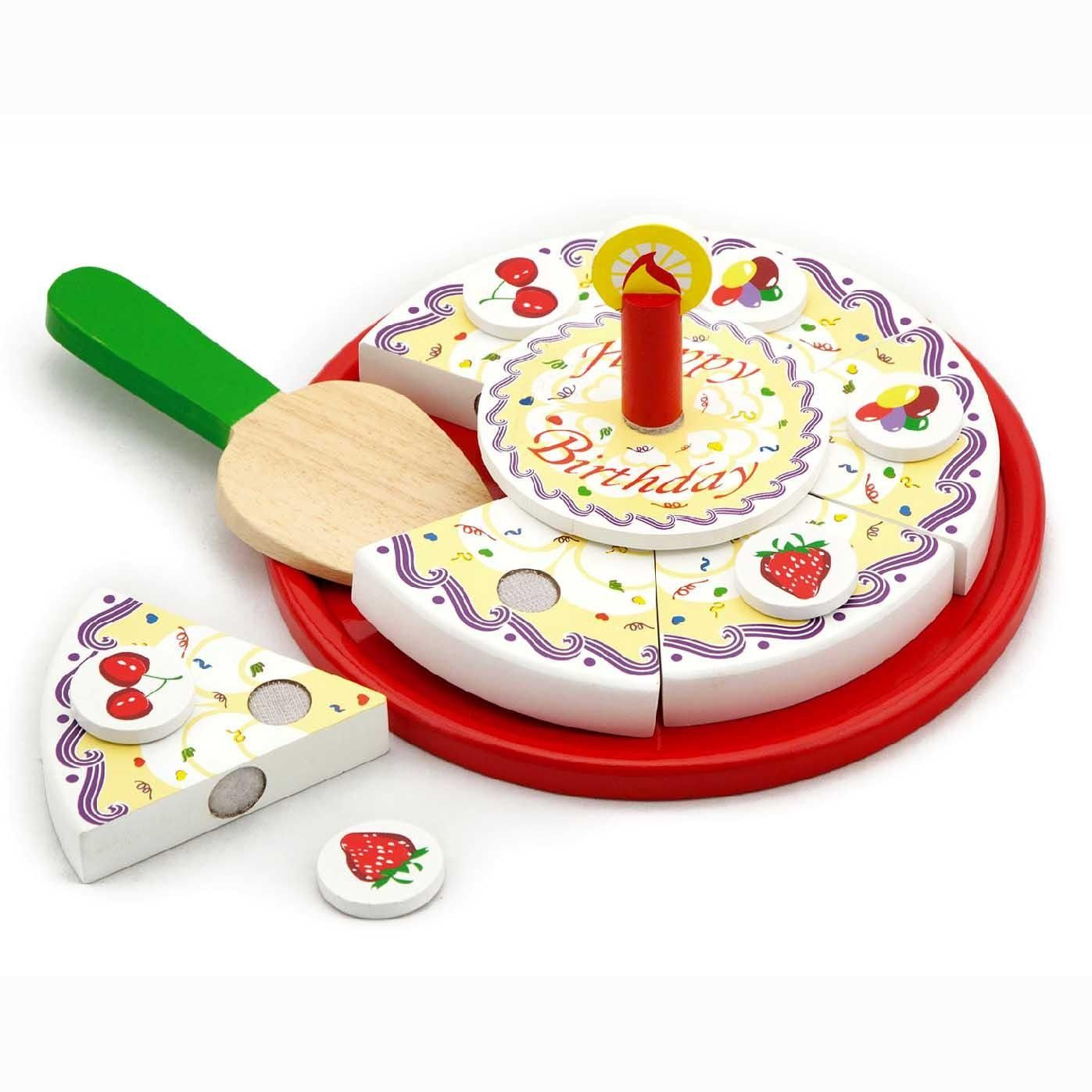 Removable candle & decorations, hand painted and exellent finishing. Wooden spatula included and tray included. Size: D230 x 35 mm 18 months +  www.kidswoodentoyshop.co.uk