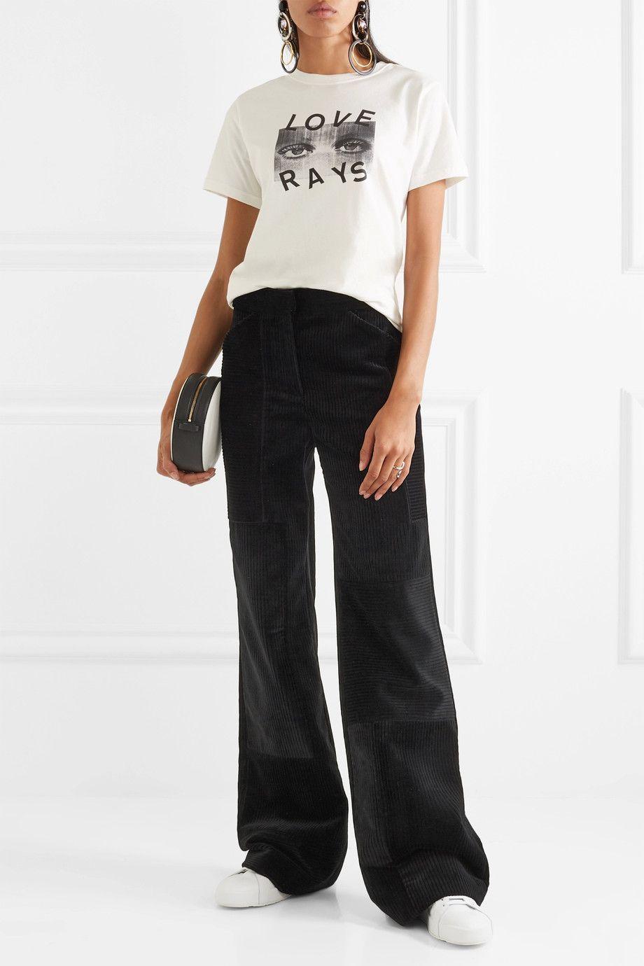 Patchwork Corduroy Wide-leg Pants - Black Victoria Beckham JmGdXolIjS