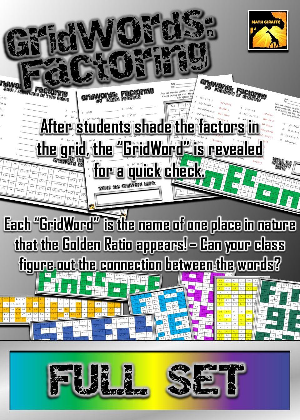 Factoring Polynomials Gridwords Full Set Algebra Pinterest