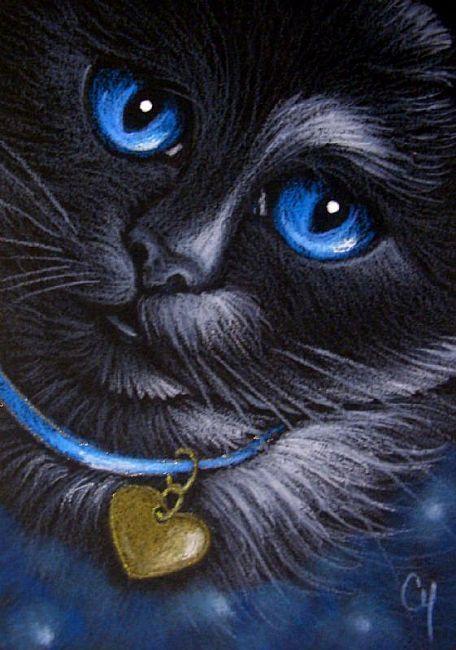 Art: *BLACK CAT - BLUE COLLAR by Artist Cyra R. Cancel