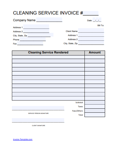 Free House Cleaning Service Invoice Template Excel Pdf Word Doc Invoice Template Invoice Template Word Cleaning Service
