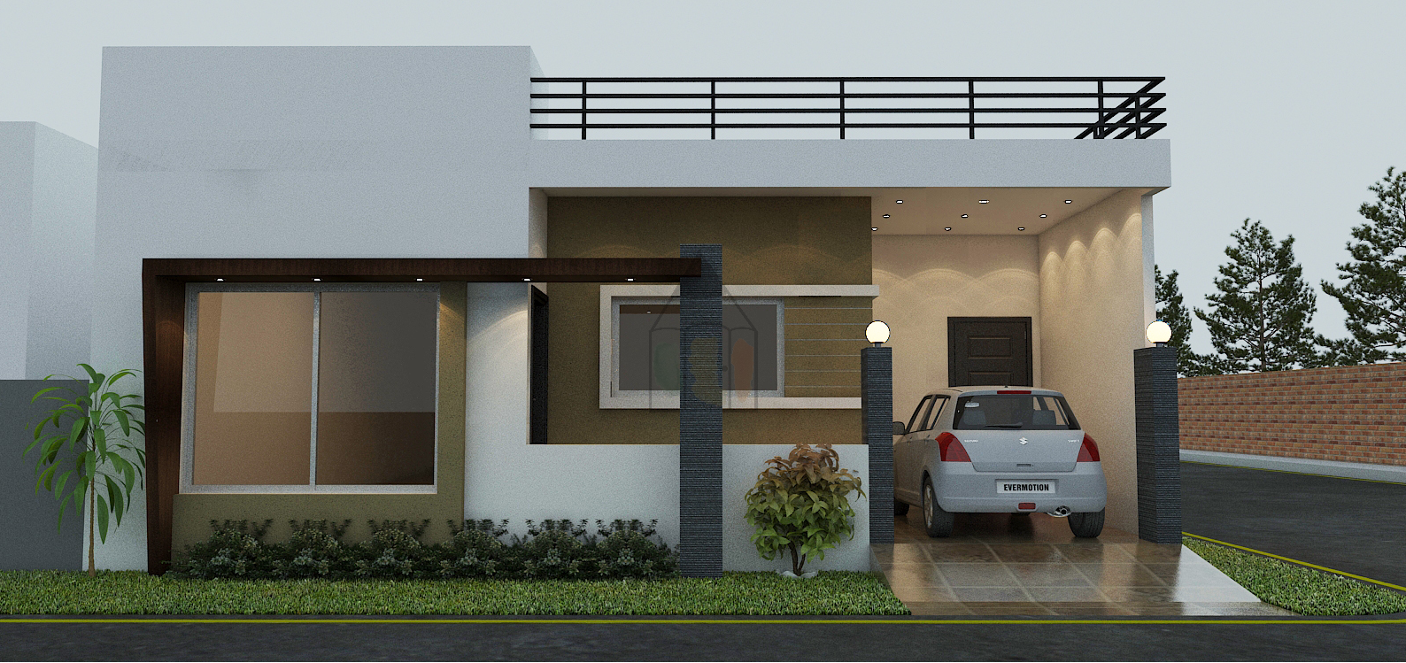 Contemporary House Elevation Single Floor: Single Floor House Elevation