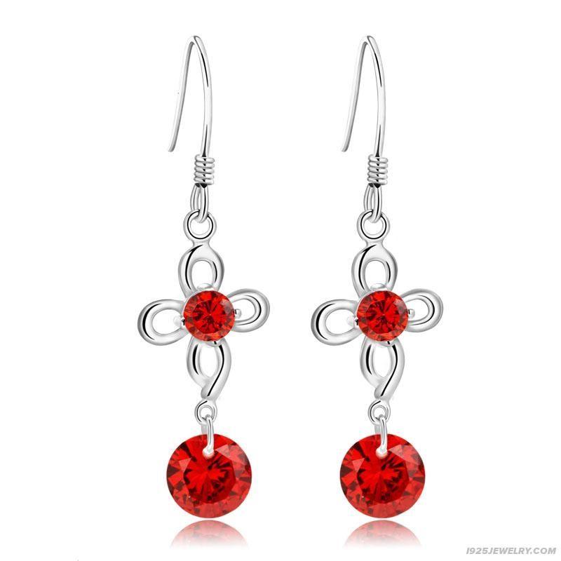 925 Silver Red Flowers Earrings