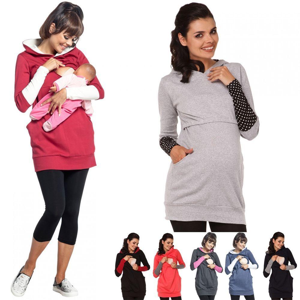 Women Maternity Clothes Breastfeeding Tops Hoodie Pregnancy Nursing Jumper Tops