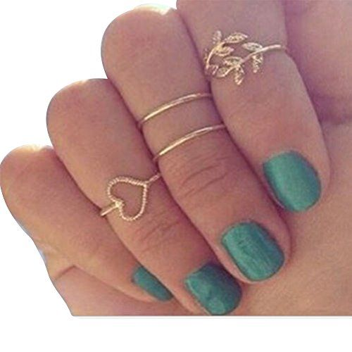 Fashion New Women Girl Heart Leaves Leaf Circle Knuckle Rings Set