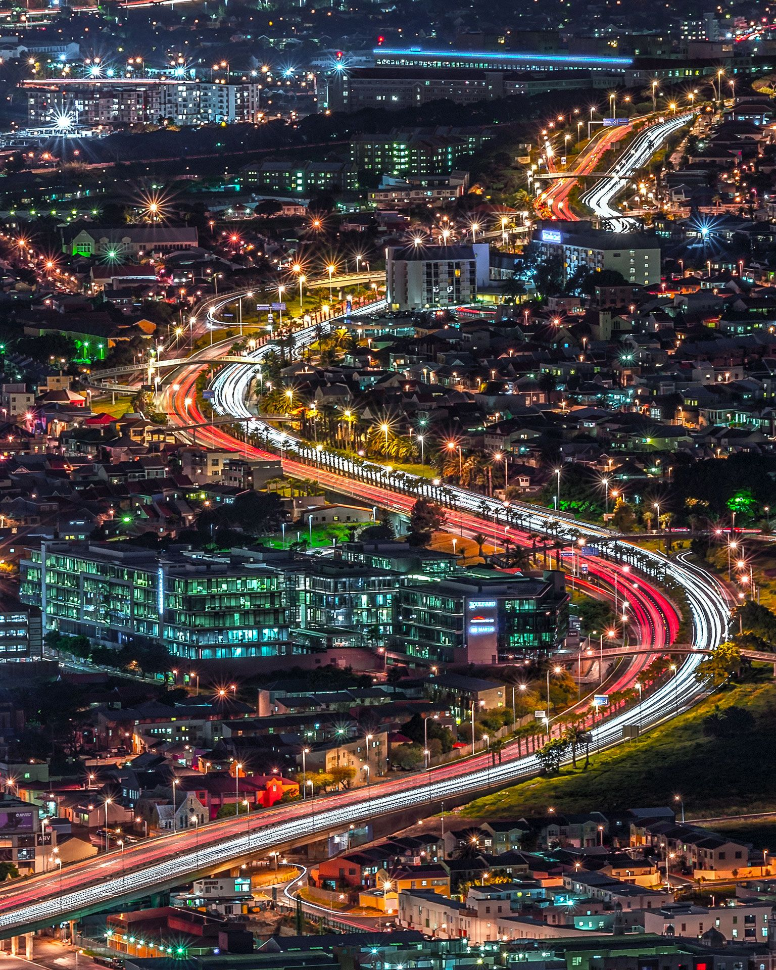 Beautiful View Of Cape Town Highways Lit Up At Night