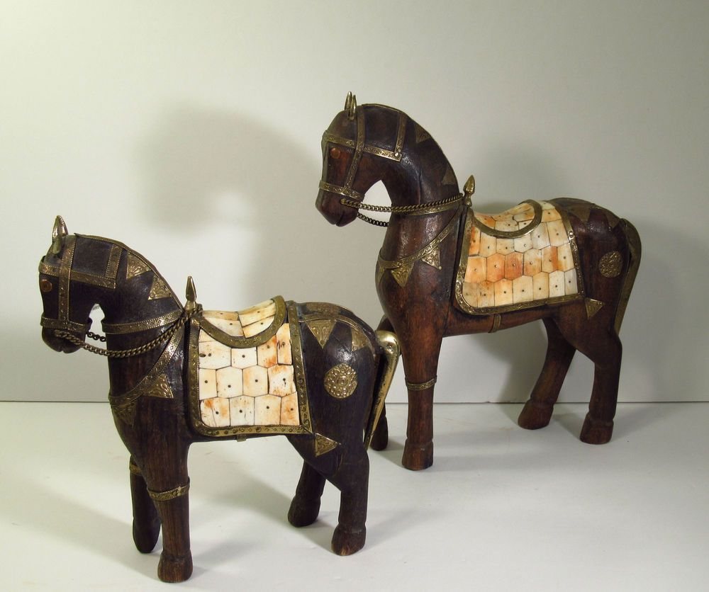 Matching Pair Asian Hand Carved Wood Horse Statues W Brass Copper Bone Decor Horse Figurine Metal Horse Sculptures Hand Carved Wood