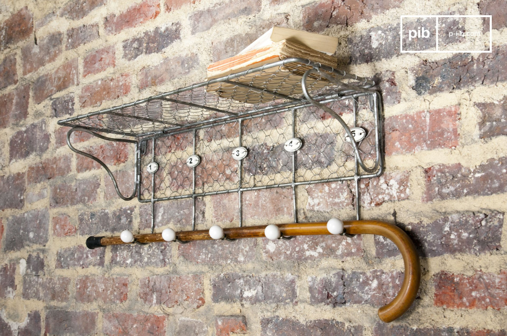 Wire mesh shelf with numbered hooks – vintage design