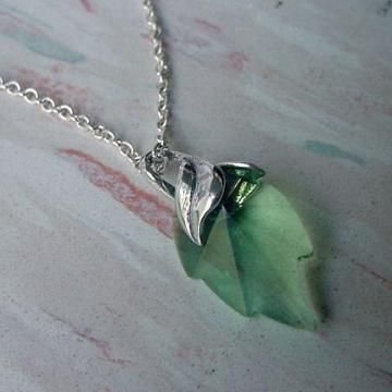 Swarovski Crystal Leaf Pendant Necklace in Peridot on Silver Chain by MorningMistStudio for $35.00