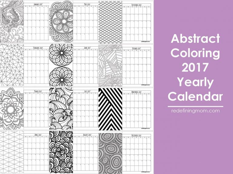 Free Printable Abstract Adult Coloring Calendar | Adult coloring ...